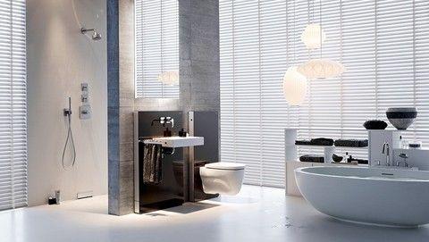 Badkamer met geberit monolith voor wc en voor wastafel www.geberit