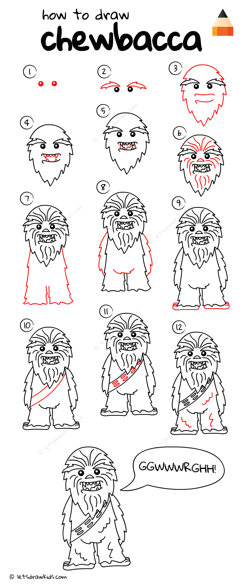 How To Draw Chewbacca From Star Wars Star Wars Drawings