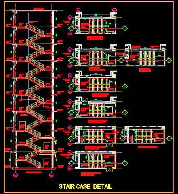 Freedownload Autocad Drawing Of Multi Storey Staircase