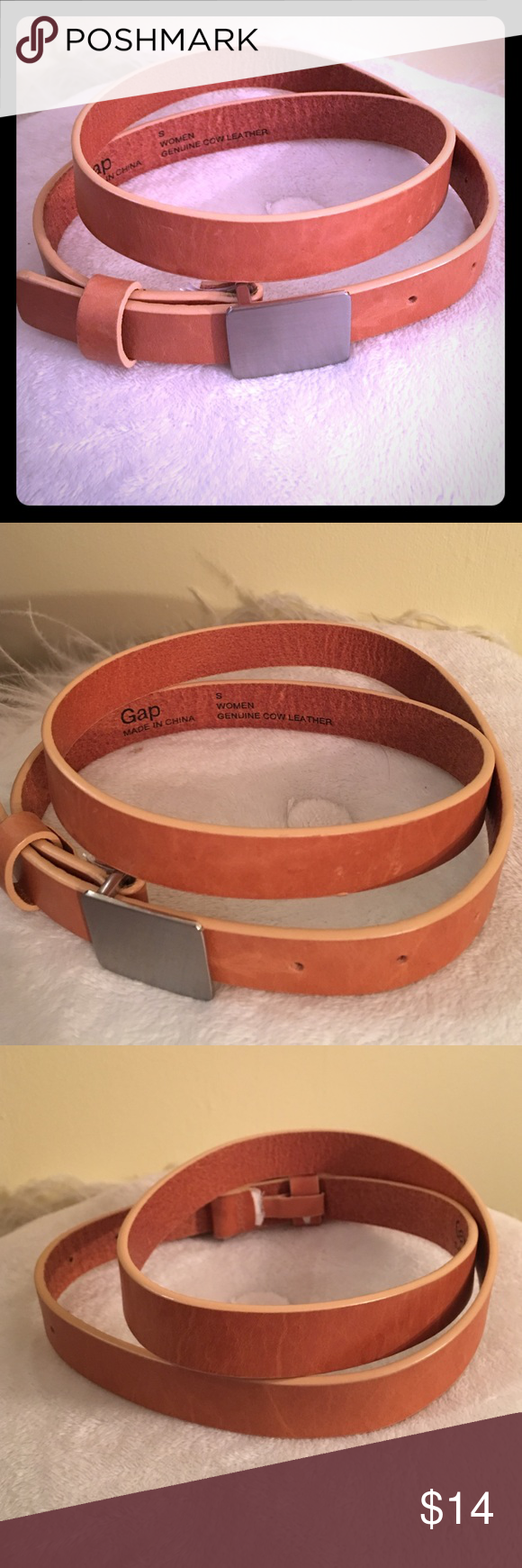 Authentic Camel Cow Hide Leather Thin Belt Good gently worn no torn or worn areas thin camel colored cow hide leather belt with small brushed leather buckle. Great with many outfits and a good closet staple. Gap Accessories Belts