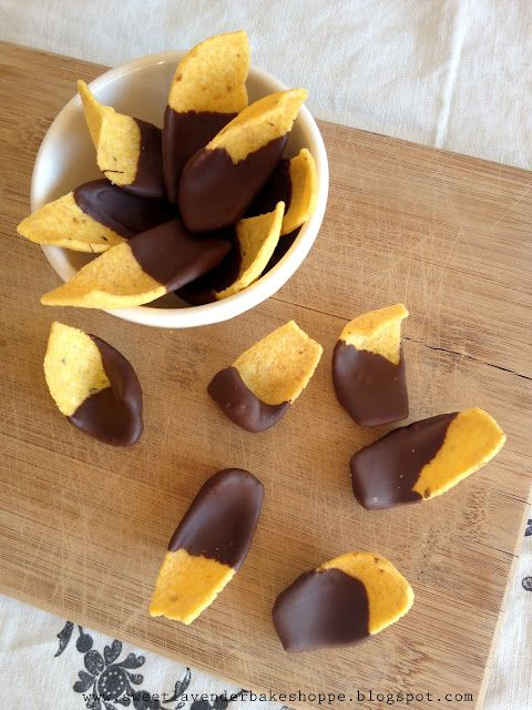 Ridiculousness at its best...chocolate dipped corn chips. #snacktime