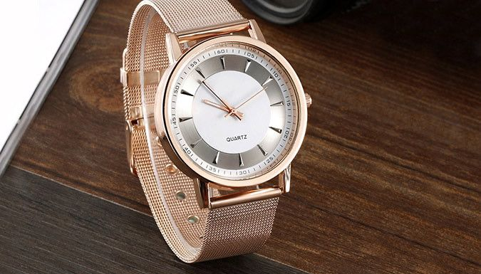 Rose Gold Coloured Fabio Watch Esnure punctuality and style with the Rose Gold Coloured Fabio Watch      Sleek silver-coloured face      High quality stainless steel strap      Scratch resistant metal-coated dial      Minimal design on the face with small markets and slim hands      Dial diameter 4cm, band width 2.2cm, band length 22.9cm      Save 82% on the Rose Gold Coloured Fabio Watch for...