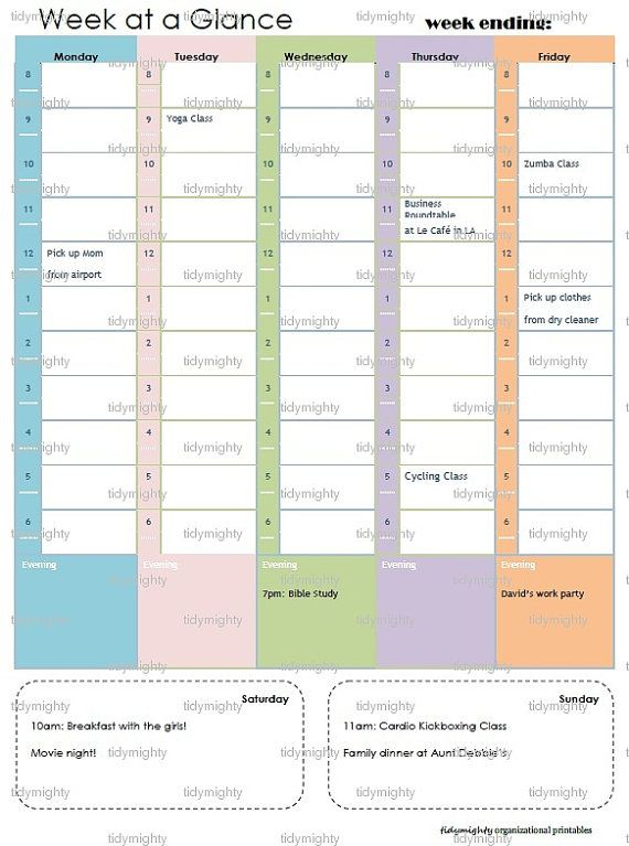 Weekly Schedule  Planner  Printable Pdf Instant Download