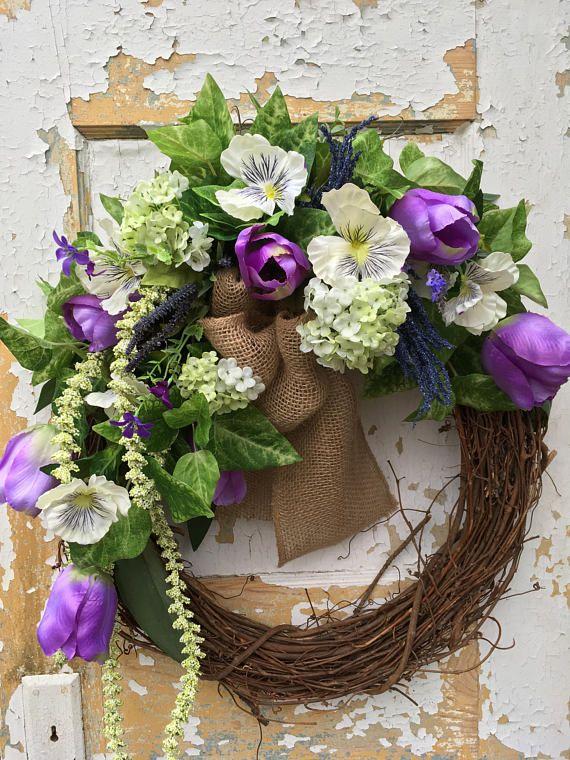 Easter wreath spring wreath for front door purple wreath easter wreath spring wreath for front door purple wreath housewarming gift negle Images