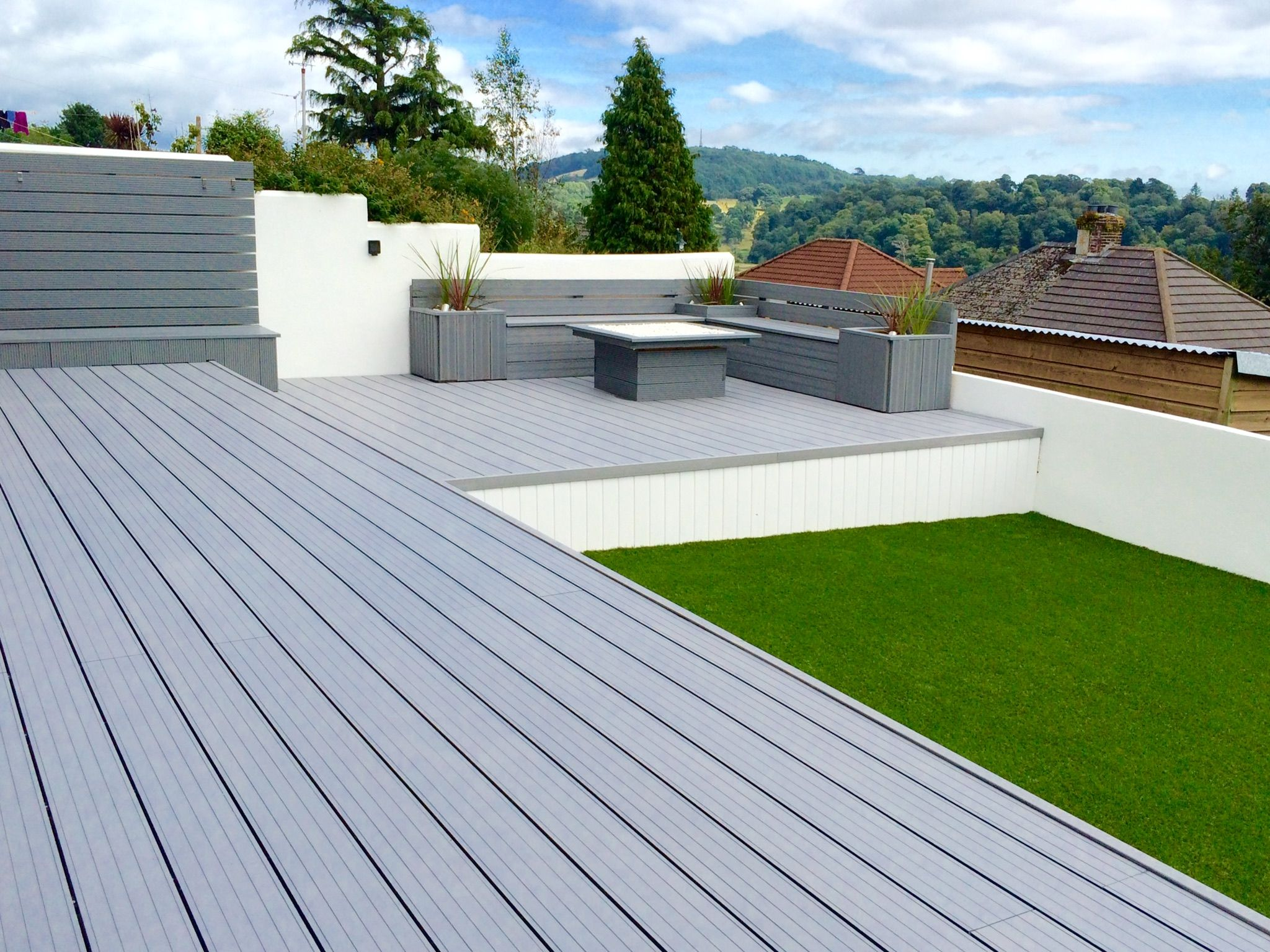 Synthetic Deck Boards Cladco Light Grey Hollow Composite Decking Boards Are Used In This