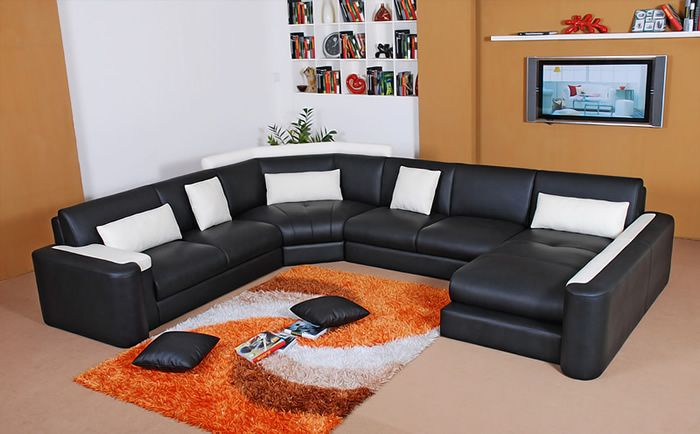 Miami Bonded Leather Sectional Sofa Black White Rsf