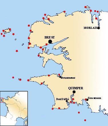 Carte Des Phares De La Mer D Iroise Mer D Iroise Carte Bretagne