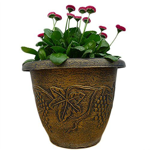 Large Golden Roman Style Retro Planter Imitation Ceramic Ancient Flower Pot