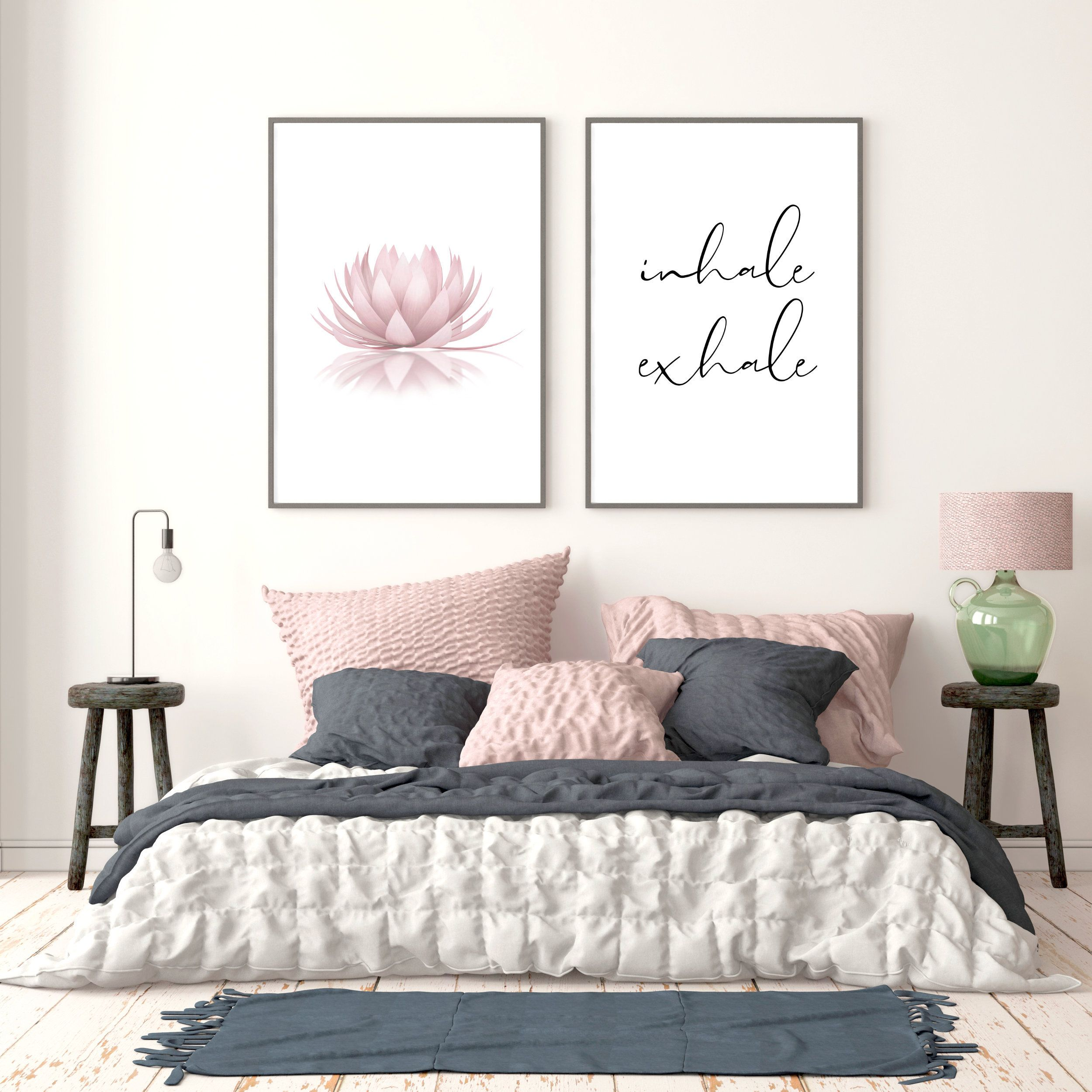 Set Of 2 Pink Lotus Flower Inhale Exhale Sign Womens Bedroom Calligraphy Printable Above Bed Decor Zen Wall Art Lotus Flower Poster Above Bed Decor Bedroom Decor For Couples Bed Decor