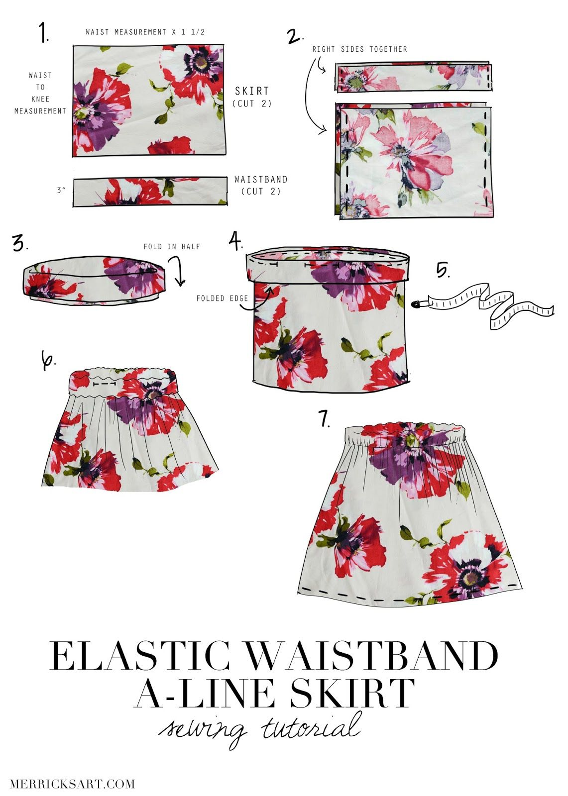 Elastic waistband A-line Skirt | Bobbins and Buttons! | Pinterest ...
