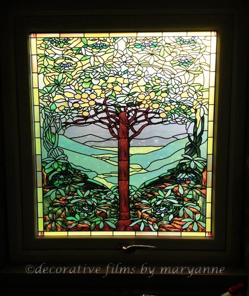 Tiffany Tree Of Life Privacy Decorative Window Film This Client From The Uk Was Updating A Kitch Decorative Window Film Wallpaper Crafts Custom Stained Glass