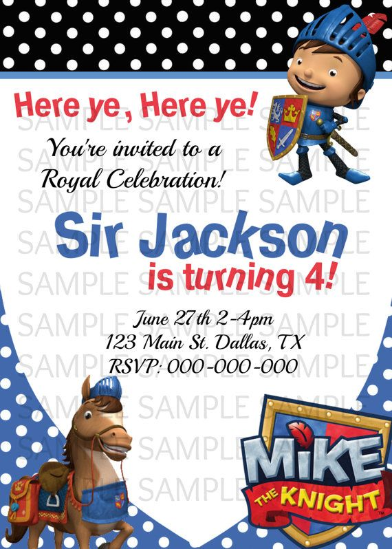 Mike The Knight Birthday Invitation by KaitlinsKardsNMore on Etsy – Knight Birthday Invitations