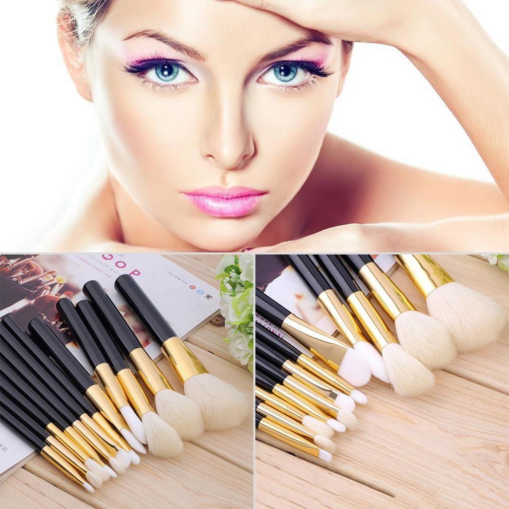Black Golden Wood 12Pcs Blending Makeup Brush Kit