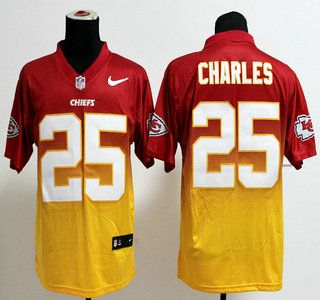 2661cdacd Nike Kansas City Chiefs Jersey  25 Jamaal Charles Drift Fashion II Red With  Yellow 2013 Elite Jerseys