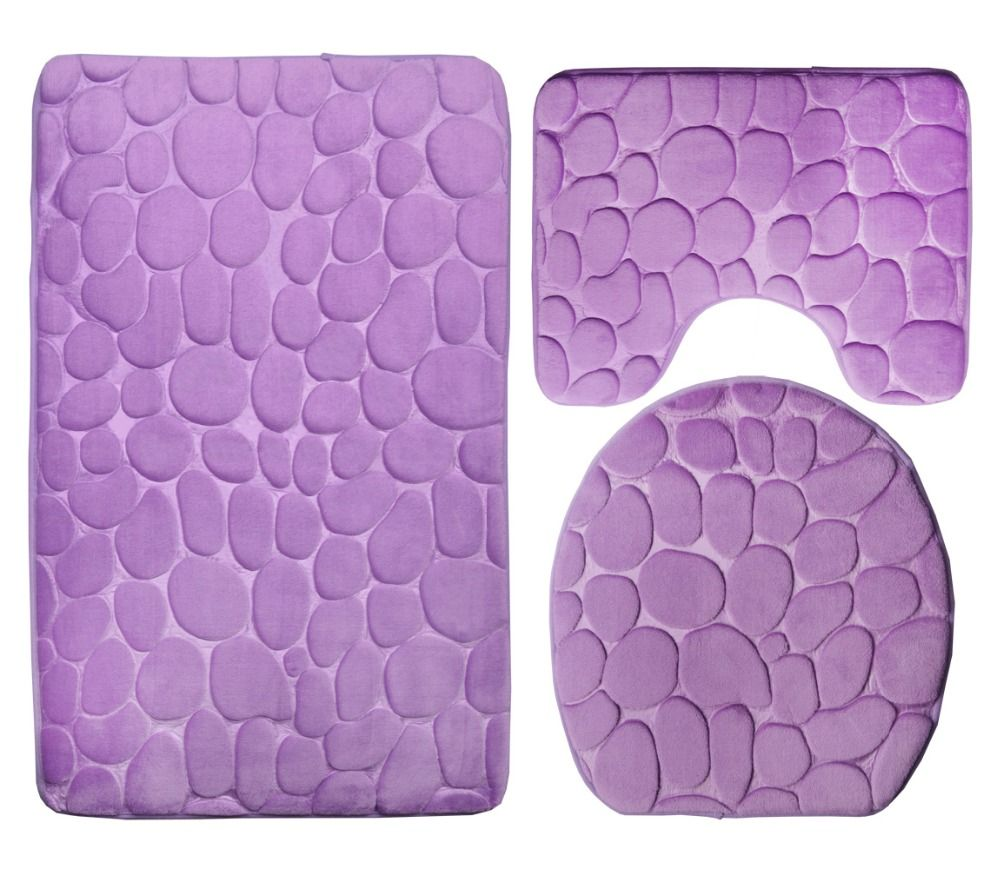 3 Piece Bathroom Rug Mat Set Contour Rug Sets 19 X30 5 19 X20 5 With Lid Cover Brown And Purple In Bath Mats Contour Rug Bathroom Rugs Rug Sets