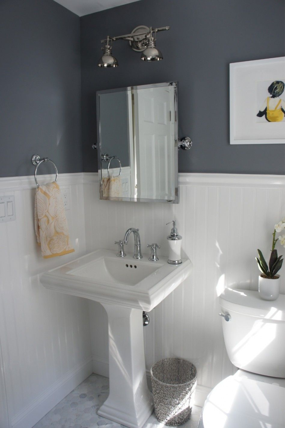 Bathroom cool small bathroom ideas with white beadboard for Grey bathroom laminate flooring