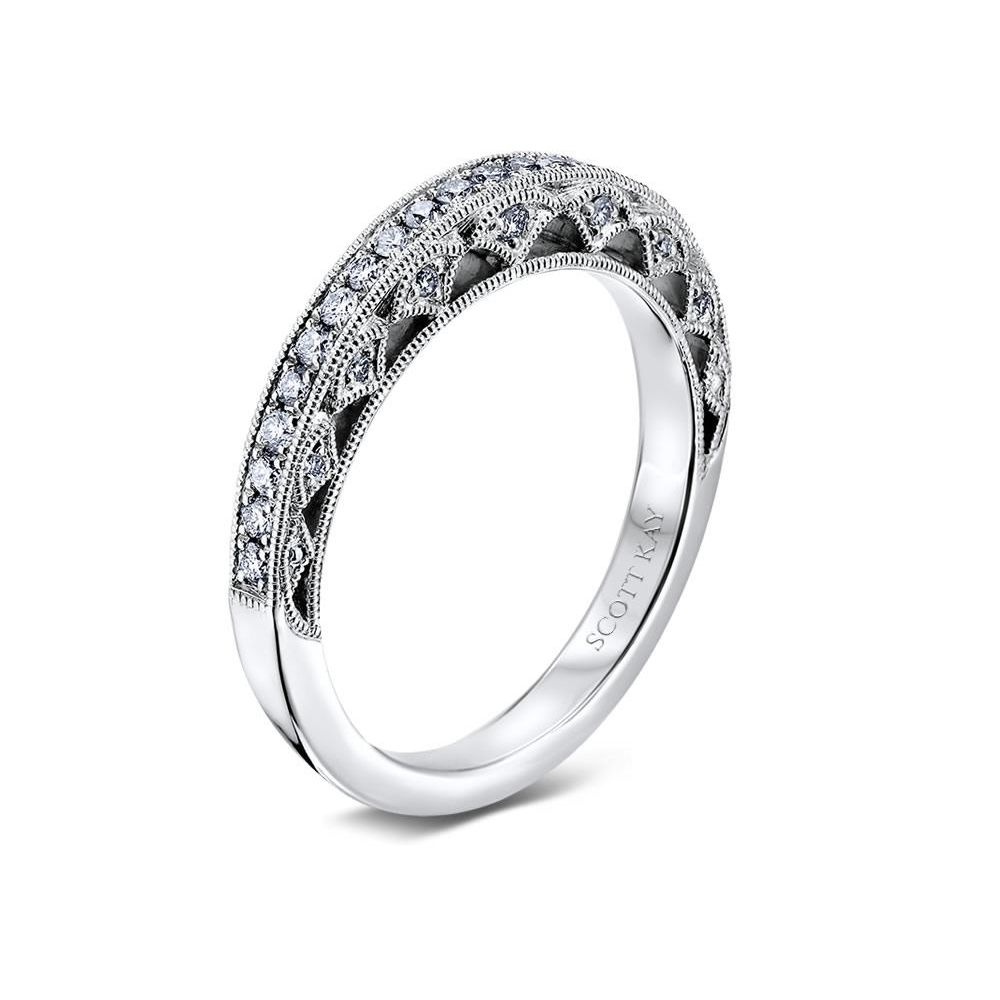 14kt White Gold H Si Ladies Wedding Band From The Silhouette Collection By Scott Kay Womens Wedding Bands Wedding Bands Wedding Band Designs