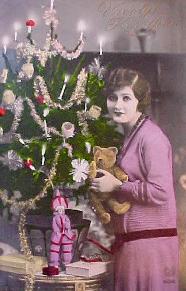 Charming Art Deco Era Dutch Christmas Postcard With Lady with Bear and Doll