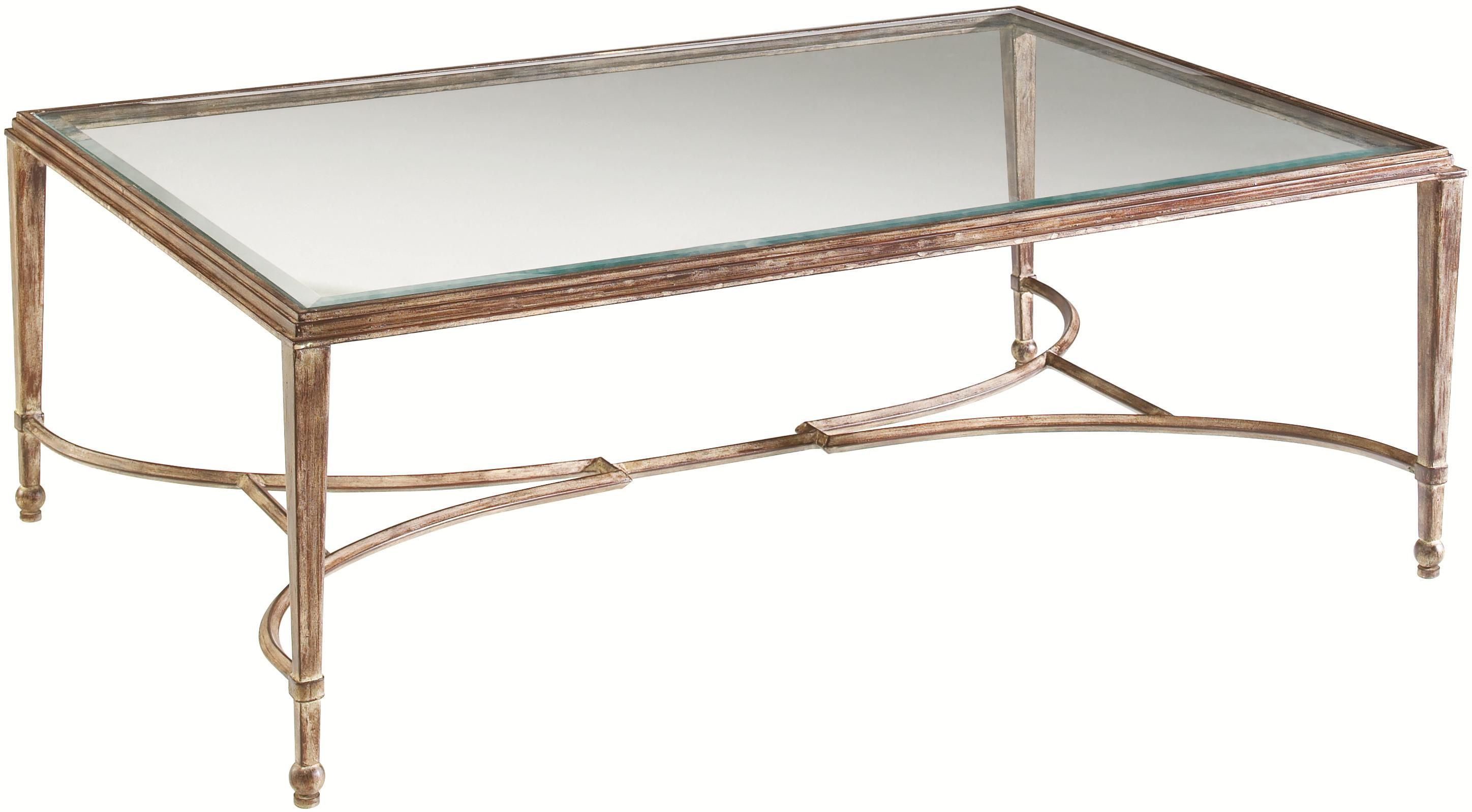 Artistica Sangiovese Rectangular Metal Glass Cocktail Table With