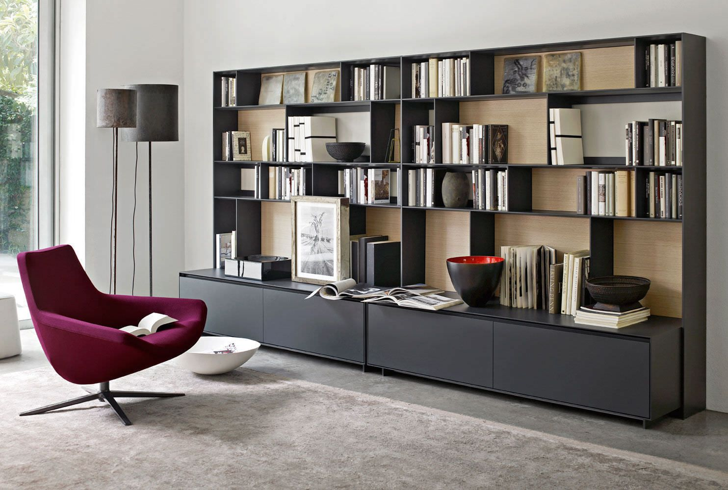 Biblioth Que Modulable Contemporaine En Bois Laqu En  # Bibliotheque Meuble Tv Contemporain