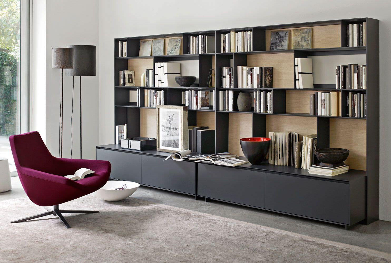 Modular Bookcase Contemporary Lacquered Wood Aluminum Flat C  # Muebles Bibliotecas Modulares