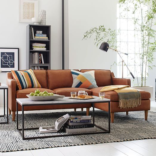 Hamilton 2 Piece Leather Chaise Sectional Living Room Furniture