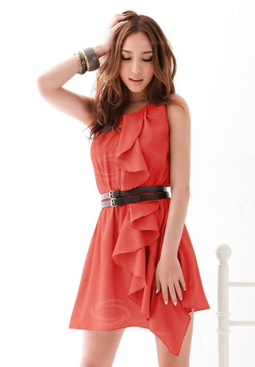 Cheap Wholesale Fashionable and Slimming Design Scoop Neck Sleeveless Flounce Solid Color Dress