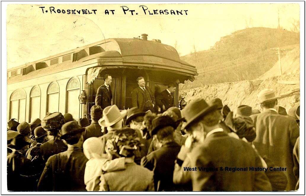 Teddy Roosevelt on railroad car at Pt. pleasant, Mason