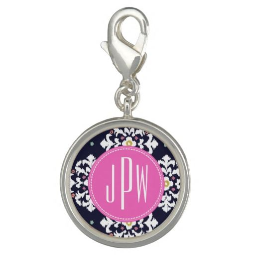 Ikat & Pink Monogram Charm #giftforher #giftforteen