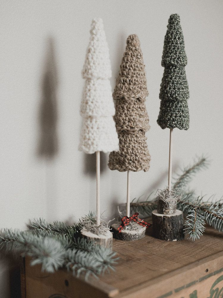 Free Crochet Pattern For The Rustic Christmas Tree Set Megmade With Love Ribbon On Christmas Tree Affordable Christmas Decorations Crochet Christmas Decorations