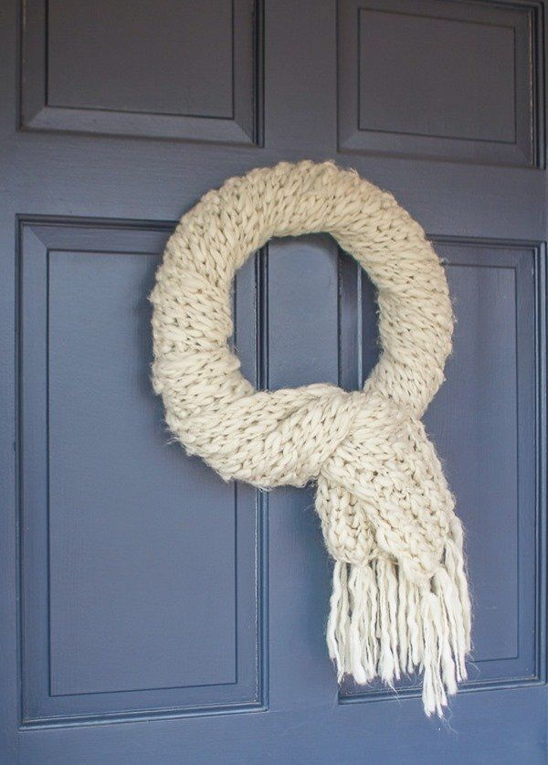 Photo of Quick and Easy Winter Wreath Made from an Upcycled Scarf – Lovely Etc.