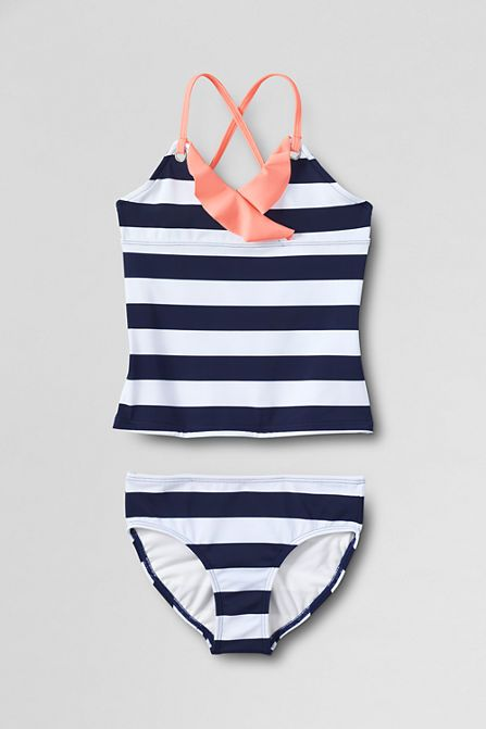 8a225f2e1d00b Girls' Anchors Away Ruffle Grommet Two Piece Tankini from Lands' End ...