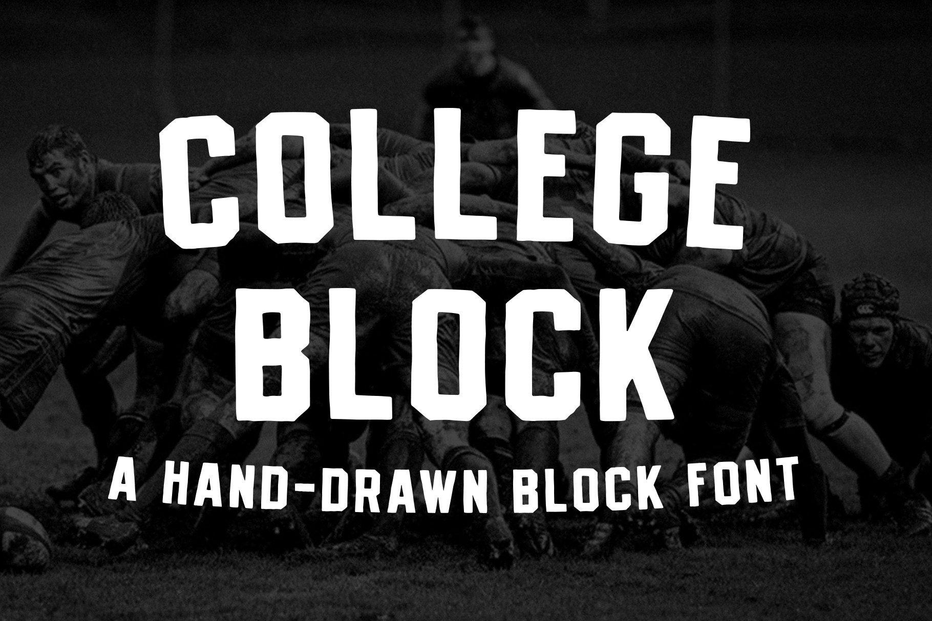 College Block A Vintage Block Font In 2020 Block Fonts Types Of Lettering Soft Blocks