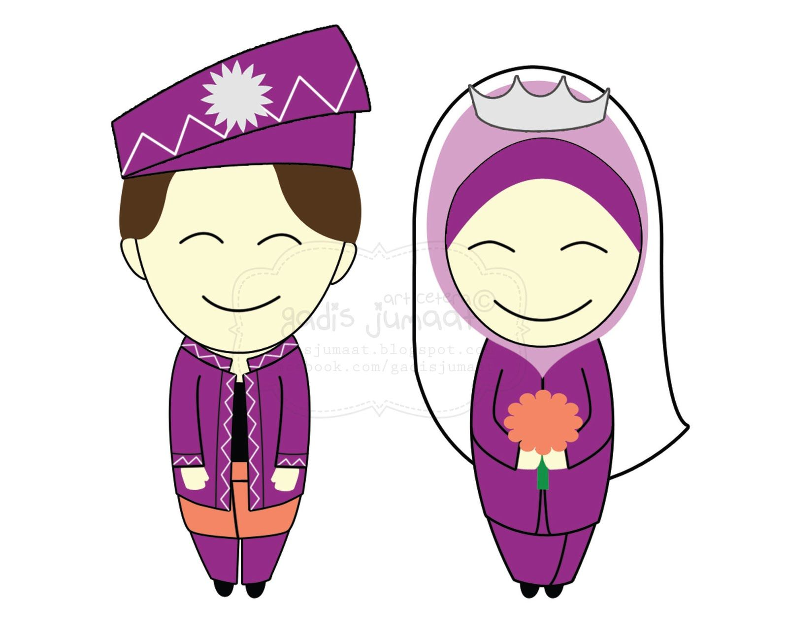 Muslim Wedding Cartoon Google Search Gambar Pengantin