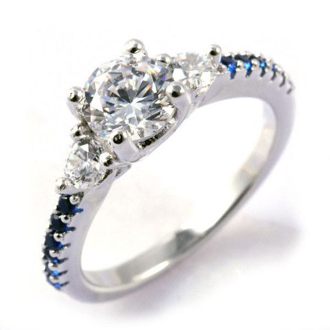 Thin Blue Line Engagement Ring Sterling Silver Round 6 5mm Cz Accents