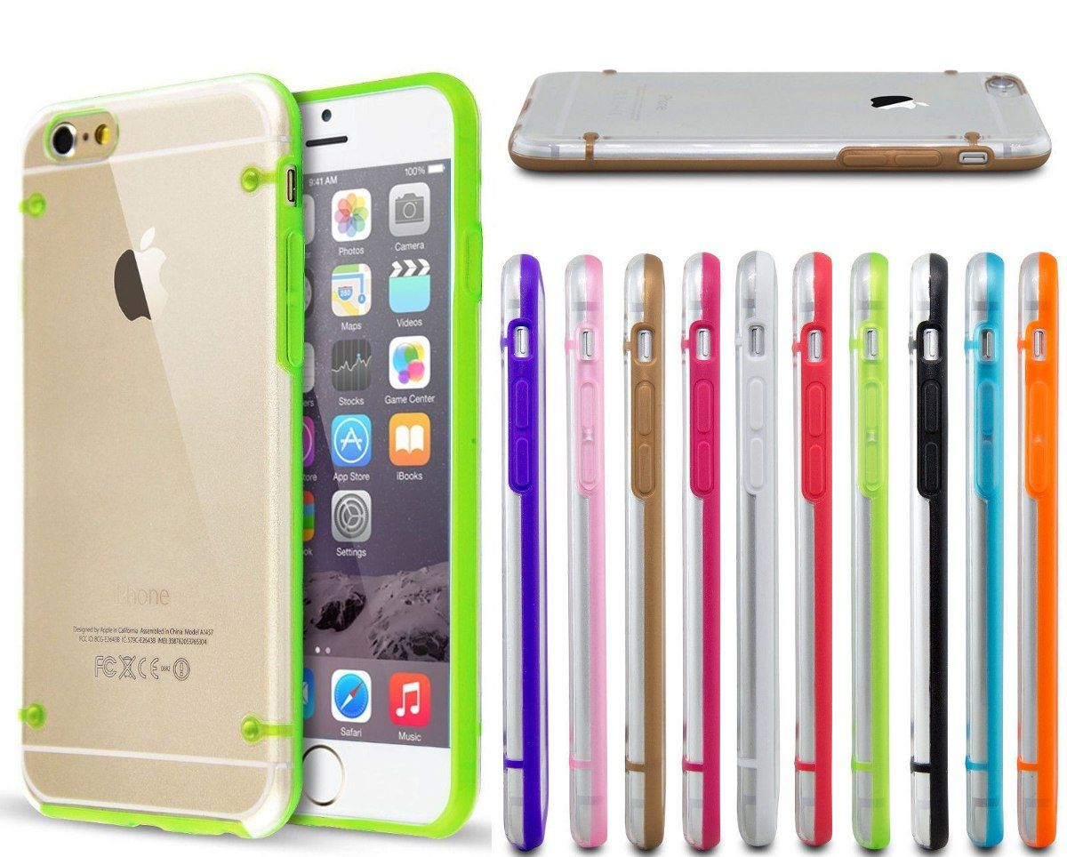 funda transparen marco de colores hard back iphone 6