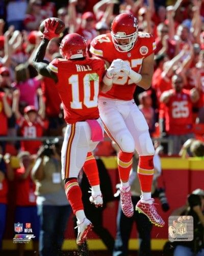 Tyreek Hill & Travis Kelce 2016 Action Photo Print (20 x