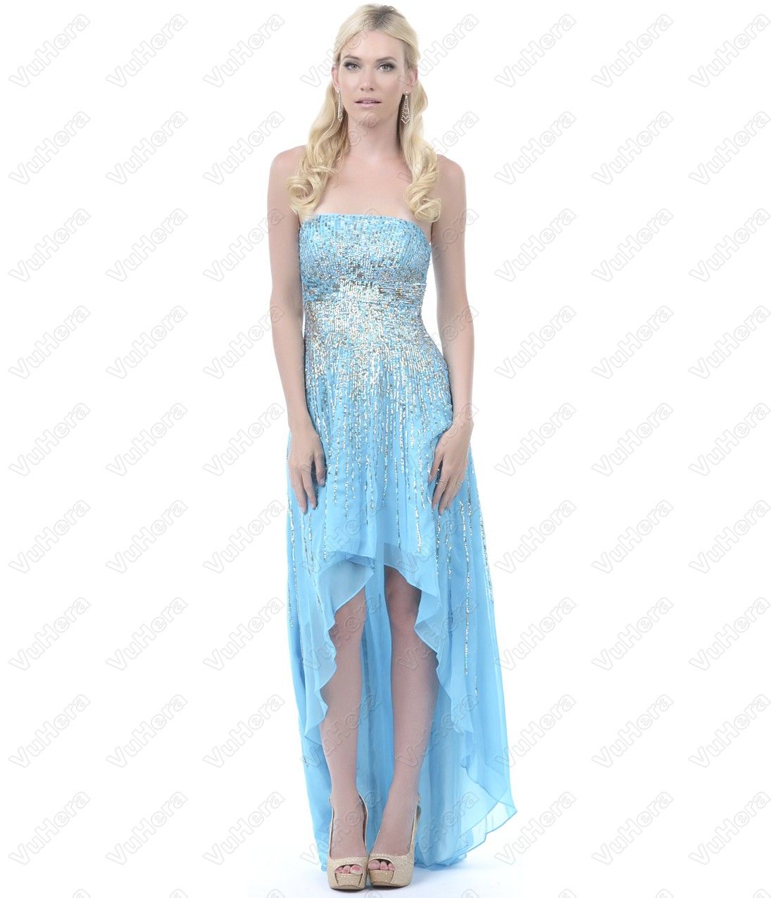 Blue sequined strapless highlow dress vuhera high low prom