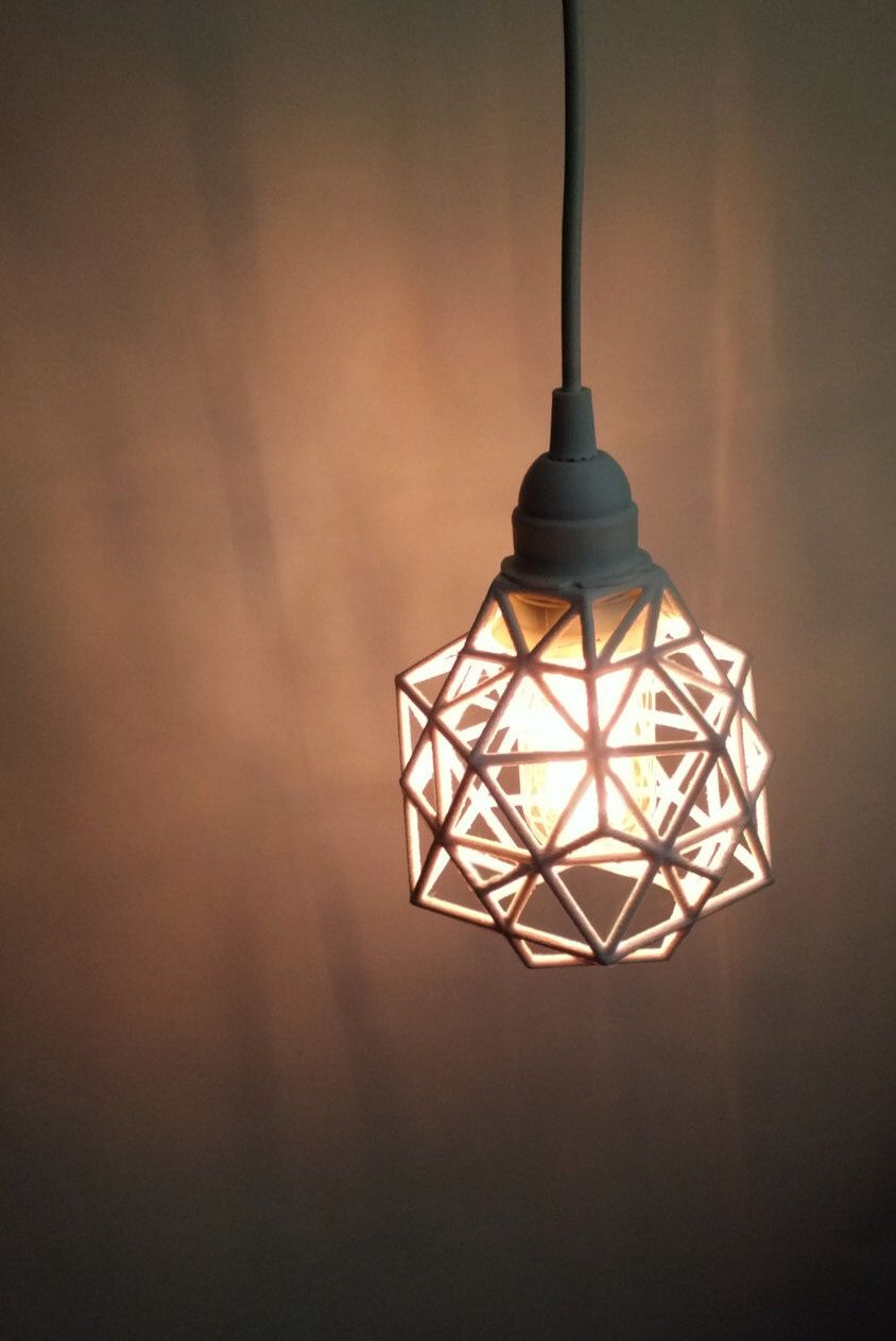 plug in industrial lighting. Pendant, Pendant Light, Plug In, 3D Printed, Industrial, Lighting, Hanging, Hanging Lamp, Geometric Design, Polygon, Vintage Edison Bulb In Industrial Lighting L