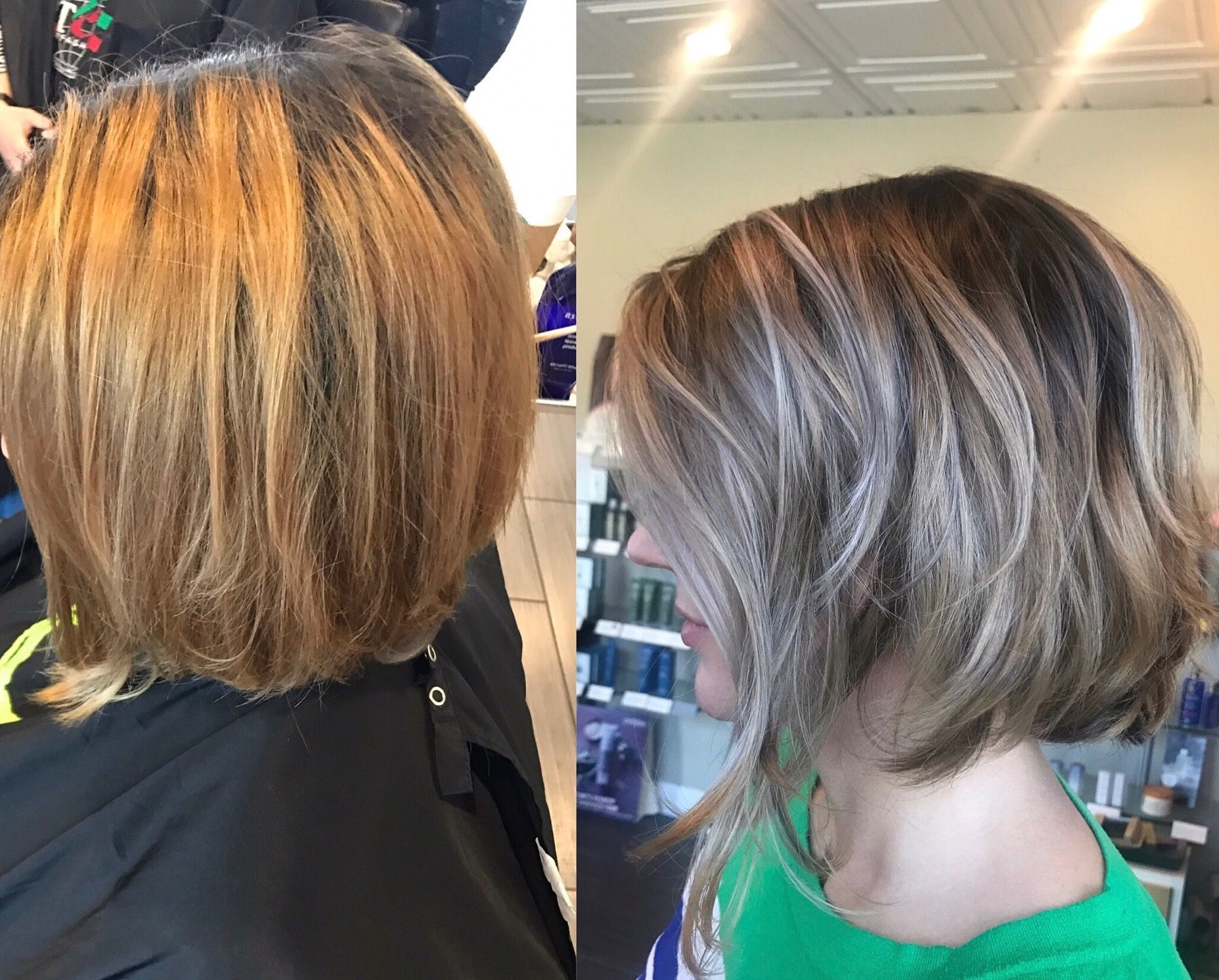 Before To After Blonde Bob Lob Hair Makeover Ideas Hair Transformation From Brassy Light Ash Blonde Hair Color Ash Blonde Hair Colour Light Ash Blonde Hair