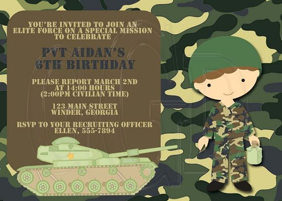 Army Birthday Invitations Ideas For James