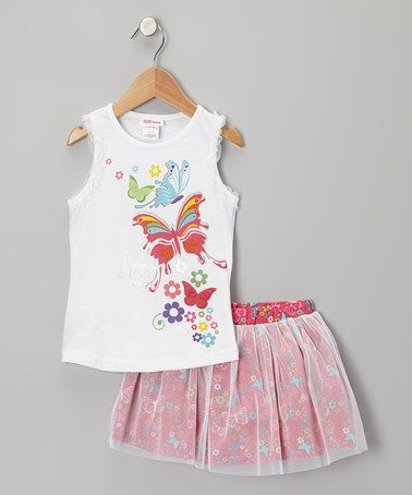 Take a look at this White Butterfly Tank & Pink Tulle Skirt - Toddler by Longstreet on #zulily today!