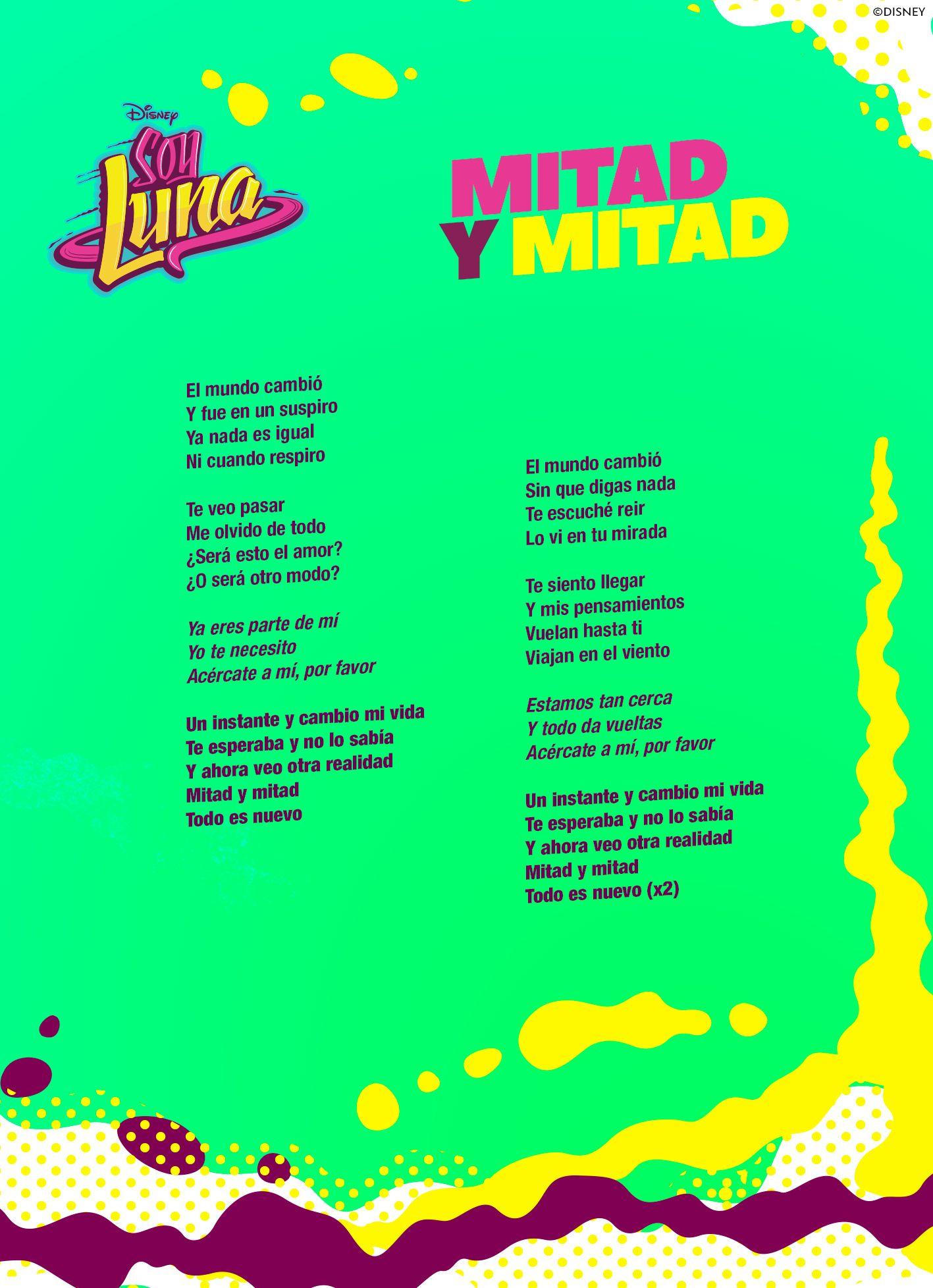 Mitad Y Mitad Sl Nina Y Gaston Canta Mitad Y Mitad En Nueva Temporada Soy Luna Canciones Letra Letra Soy Luna Letras De Canciones