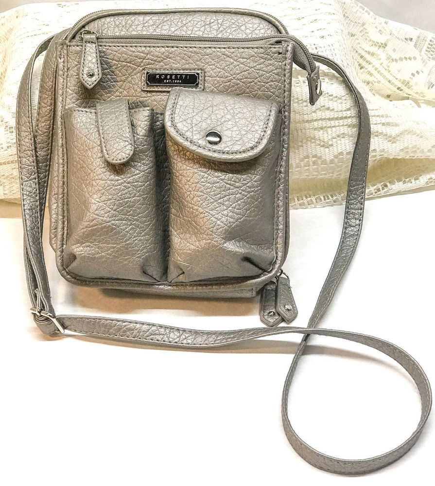 Rosetti Satchel Handbag Faux Leather Crossbody Black NEW