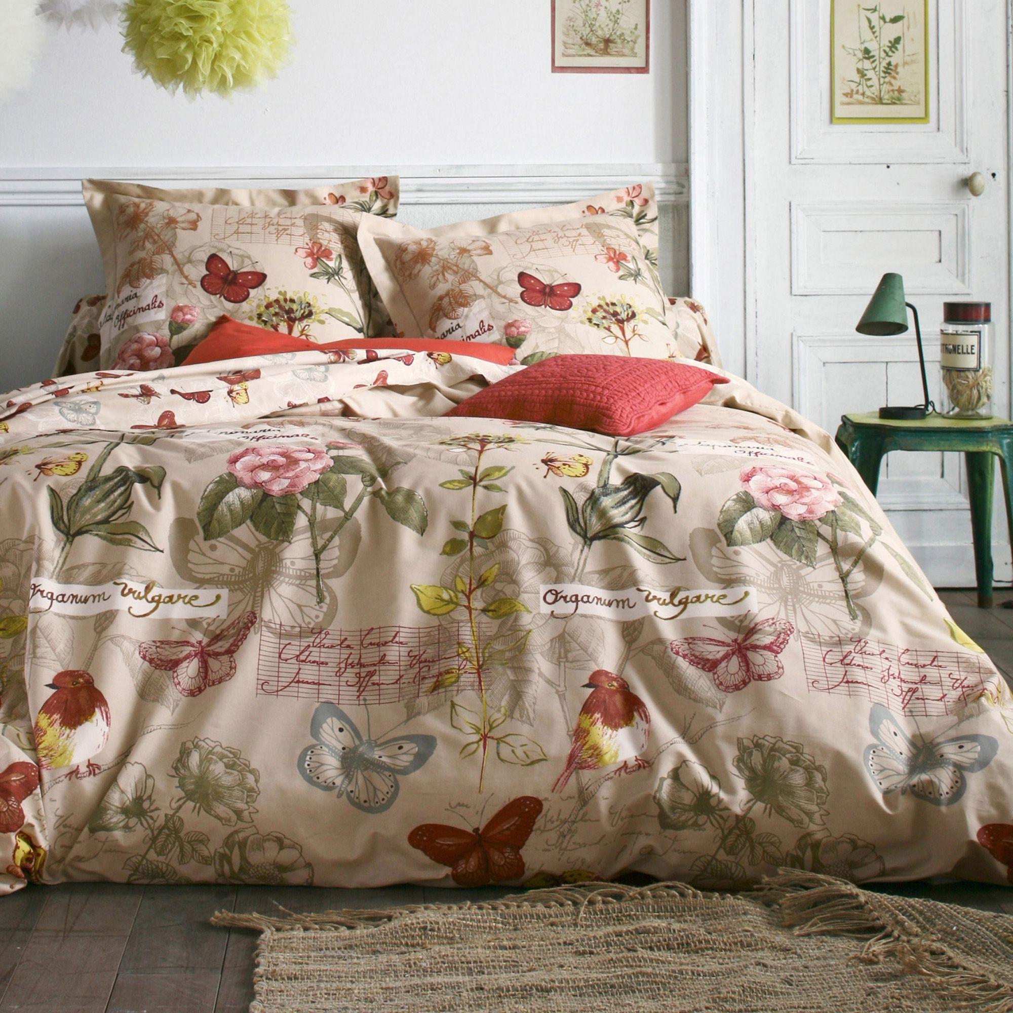 housse de couette imprim e oiseaux papillon coton. Black Bedroom Furniture Sets. Home Design Ideas
