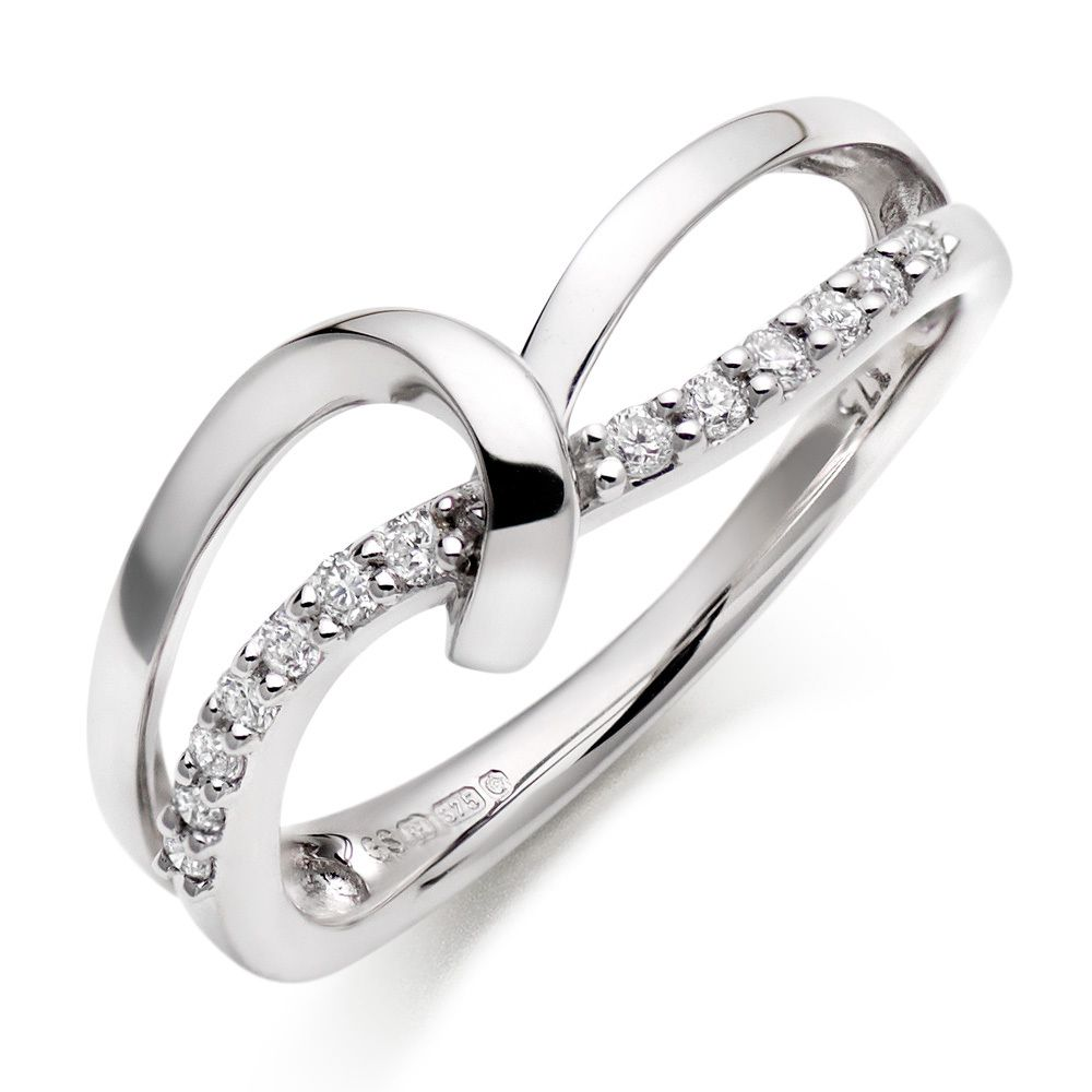 Beaverbrooks 9ct White Gold Diamond Cross Over Ring White Gold Diamonds White Gold Women Rings