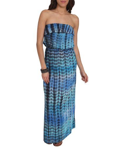 Tiedye Ruffle Maxi Dress - Dresses