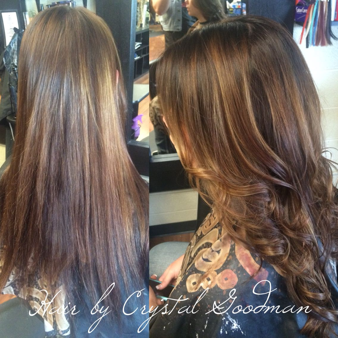 Balayage Ombre Before And After Brown Hair Curled Long By Crystal Goodman