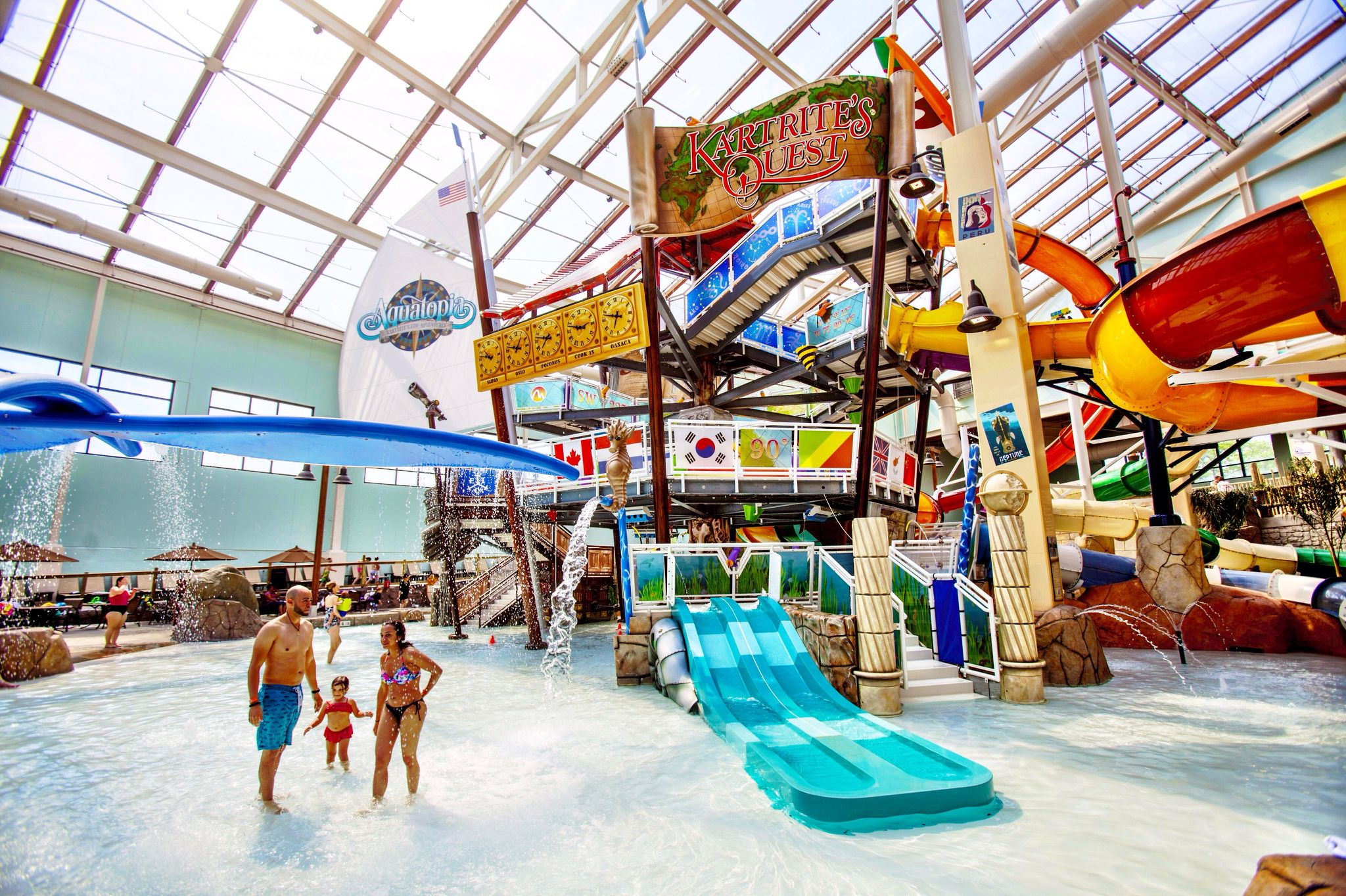 Six Water Slides On Kartrite S Quest Means Endless Fun For All Ages Aquatopia Water Parks In Pa Indoor Waterpark Water Park