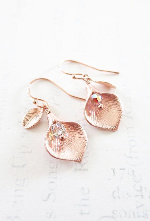 Calla Lily-Ohrring Rotgold Blatt Pearl Hochzeit von ColorMeMissy